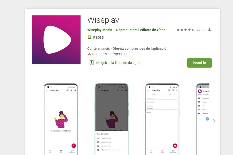 instalar wispelay con listas actualizadas